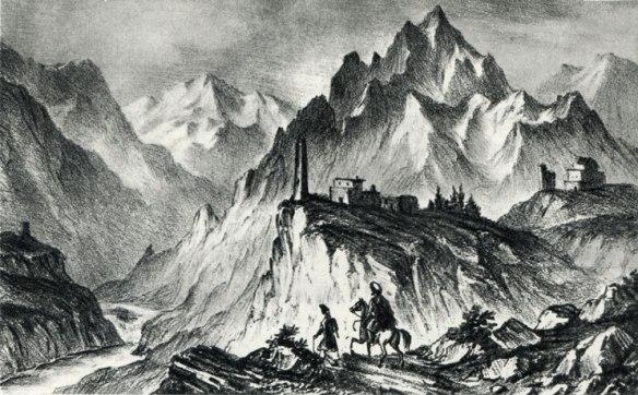 Les gorges du Darial ) autolithographie de Lermontov.jpg