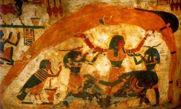 La séparation du ciel et de la terre sur le sarcophage du scribe Boutehamon. Musée de Turin, Italie..jpg