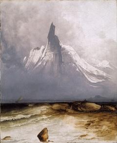 Peder Bake - le mont Stetind dans le brouillard, 1864.jpg