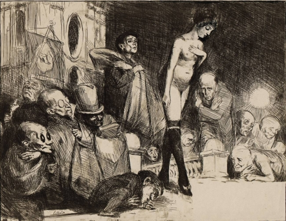 Bruno Schulz's The Procession - a cliche-verre print from the series The Book of Idolatry from 1920-1924